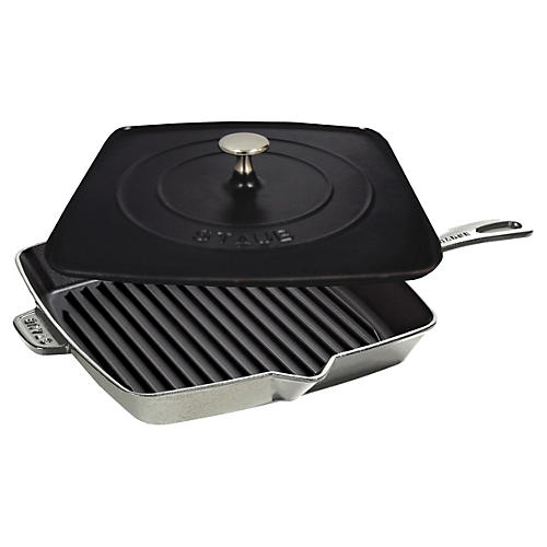 Square Grill Pan & Press Set, Gray