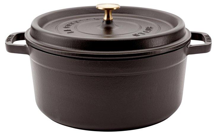 Large Round Cocotte, Black Matte
