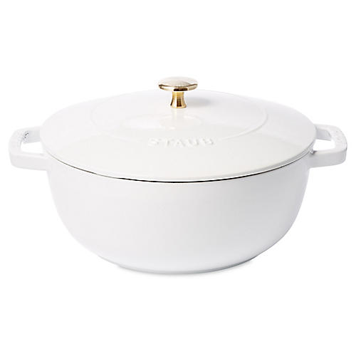 4-Qt Essential French Oven Baker, White/Brass