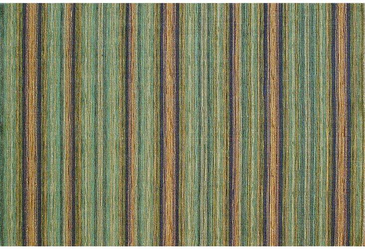 9'x12' Cord Blue & Green Flat Woven Rug