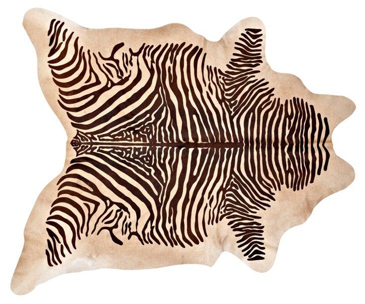 "6'5""x7'5"" Zebra Hide, Camel/Brown"