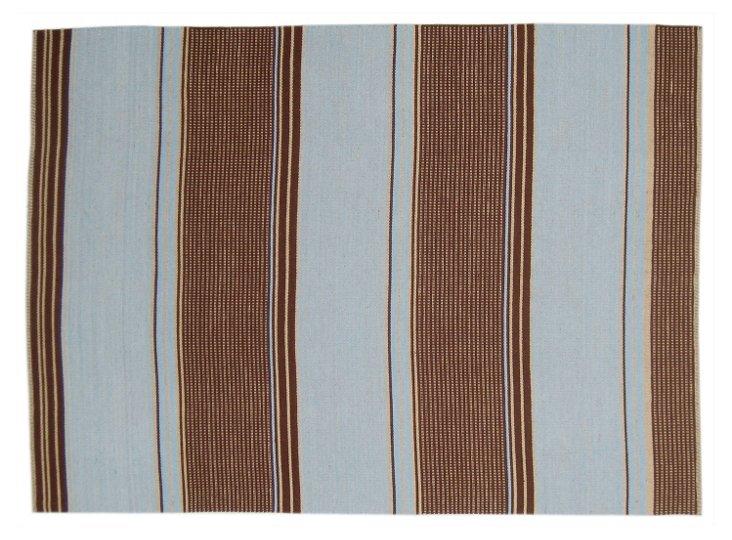 8'x10' Layyah Flat-Weave Rug, Sky/Brown