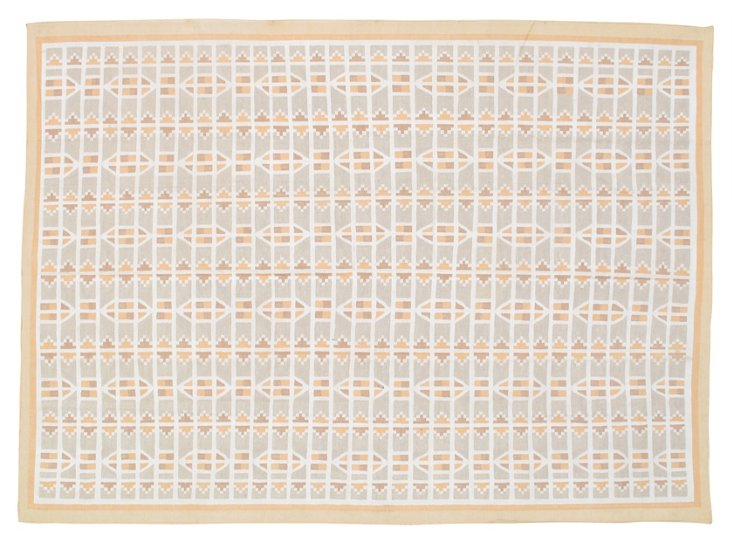 9'x12' Castor Flat-Weave Rug, Light Gray