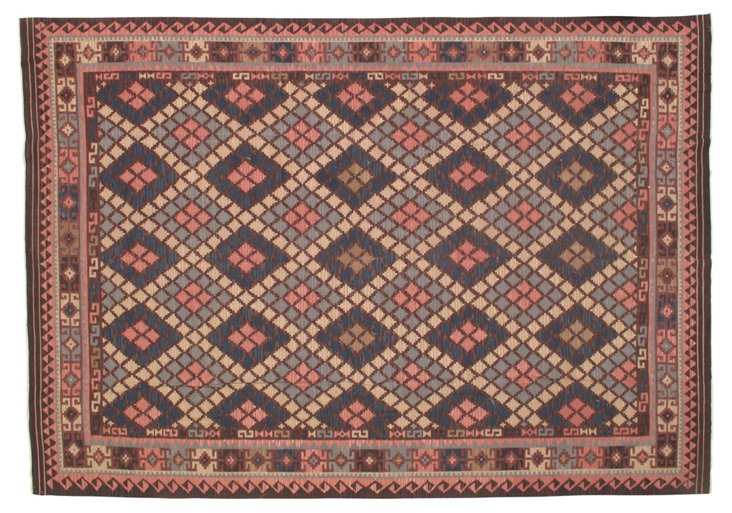 Sagar Flat-Weave Rug, Denim/Rose