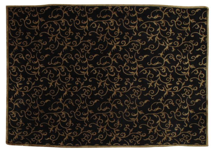 6'x9' Moody Rug, Black/Gold