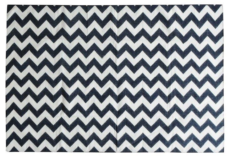 6'x9' Magalene Flat-Weave Rug, Navy