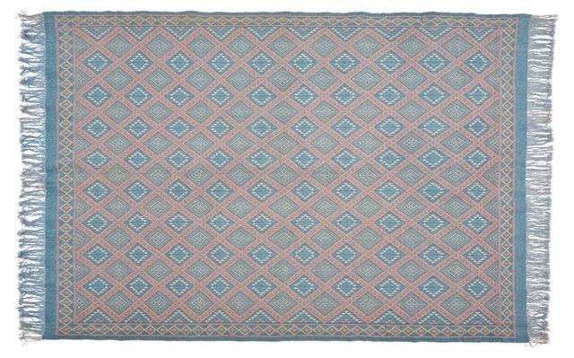 6'x9' Pooler Flat-Weave Rug, Blue/Pink