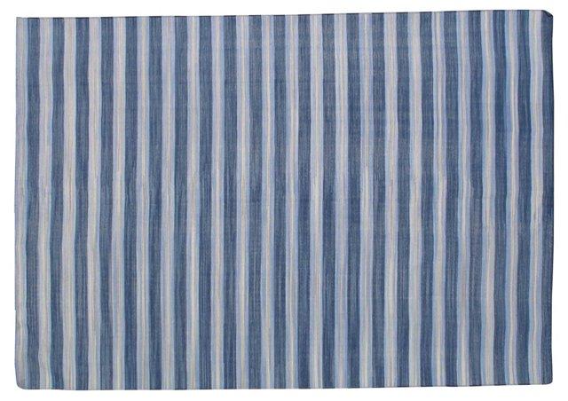 6'x9' Casey Flat-Weave Rug, Blue/White
