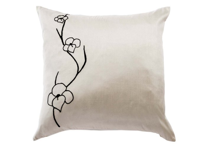 Orchid 20x20 Pillow, Black