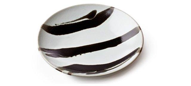Mashiko Platter, Medium Black/White