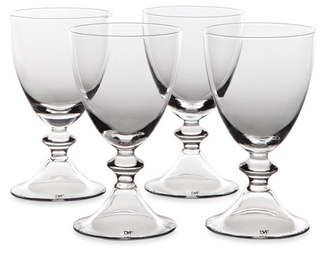 S/4 DVF White-Wine Glasses, Clear