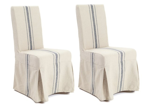 Linen Montecito Side Chairs, Pair