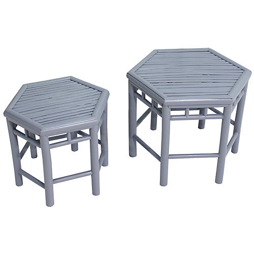 Asst. of 2 Onesta Nesting Tables, Light Gray