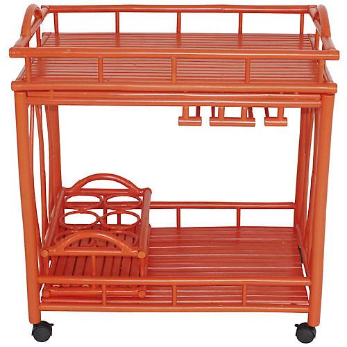 Bamboo Bar Cart, Orange