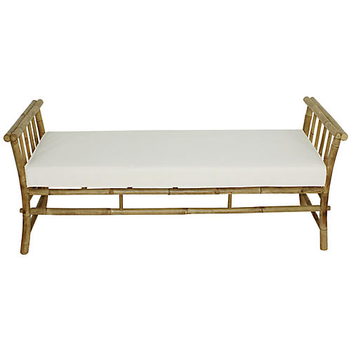 Bamboo Bench, Natural/White