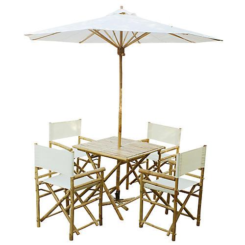Umbrella 6-Pc Square Dining Set, White