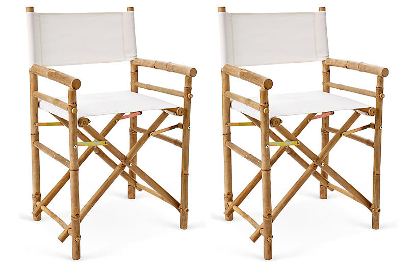 S/2 Director's Bamboo Chairs, White