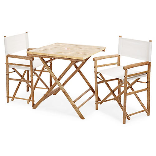 Square 3-Pc Dining Set, White/Natural