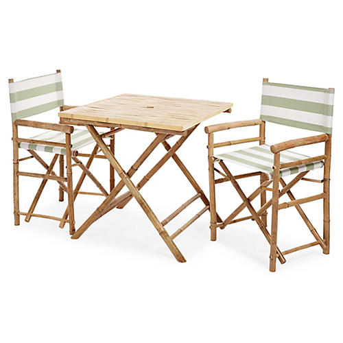 Square 3-Pc Dining Set, Celadon/White