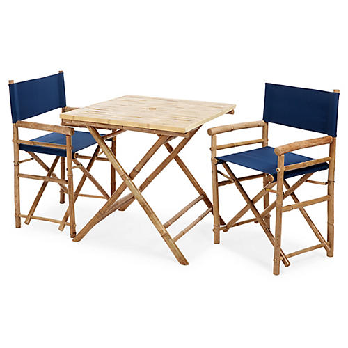Square 3-Pc Dining Set, Navy
