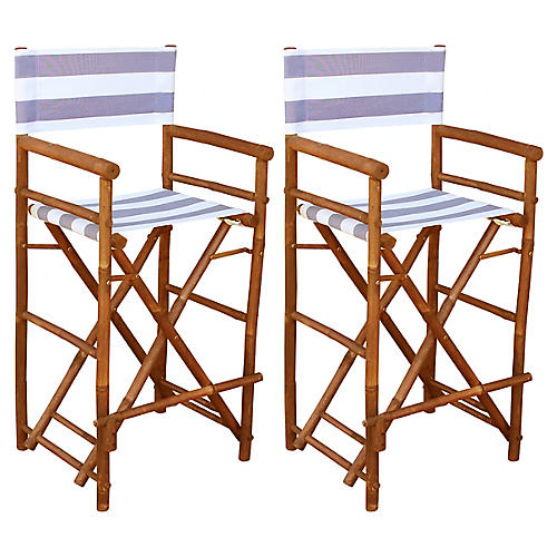 S/2 Director's Chairs, Lilac/White