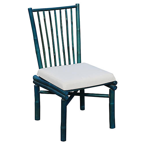 Bamboo Side Chair, Turquoise