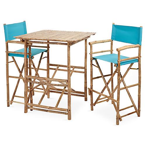 High 3-Pc Dining Set, Aqua