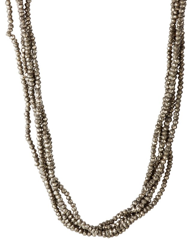 Pyrite Five Strand Bead Necklace