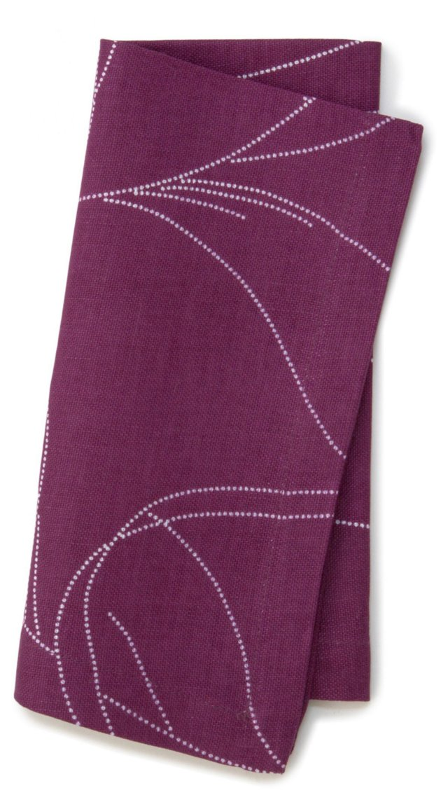 S/4 Feather Dinner Napkins, Plum
