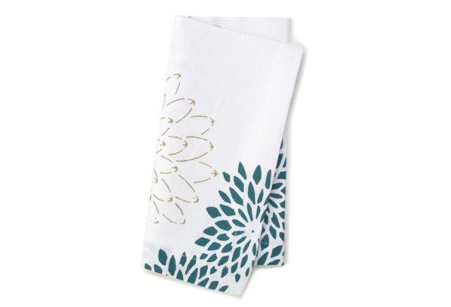 S/4 Floral Napkins, Teal