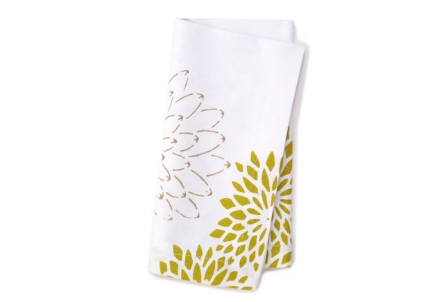 S/4 Floral Napkins, Taupe