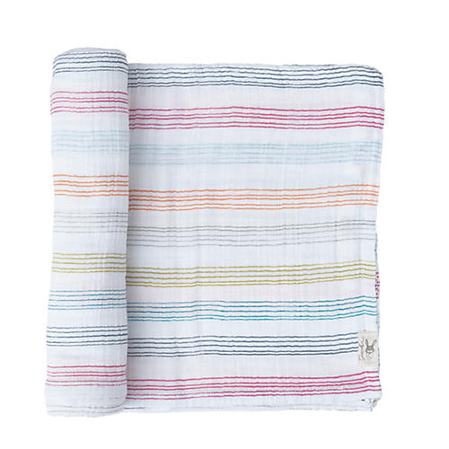 Rainbow Stripe Swaddle, White/Multi