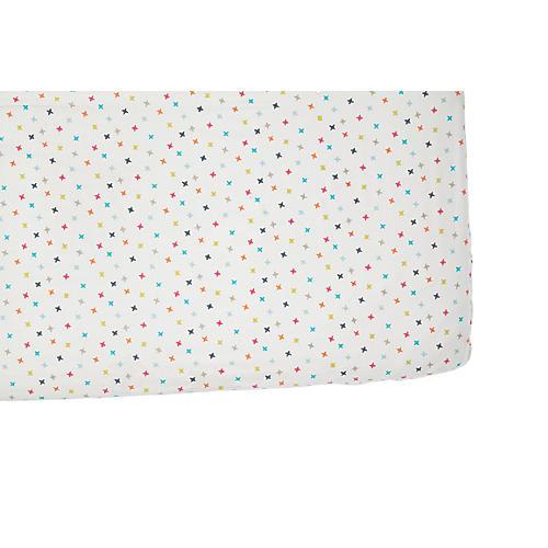 Rainbow Jack Crib Sheet, White/Multi