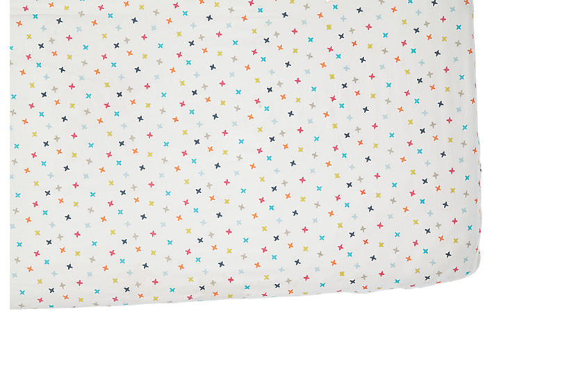 Rainbow Jack Crib Sheet, White/Multi