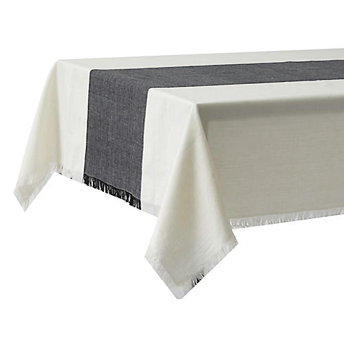 Chambray Tablecloth, Black/Cream