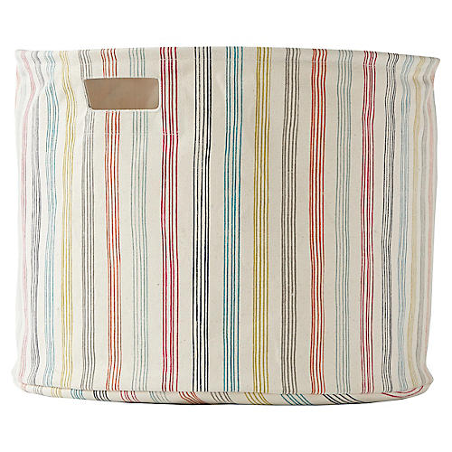 Rainbow Stripe Drum Storage, Beige/Multi