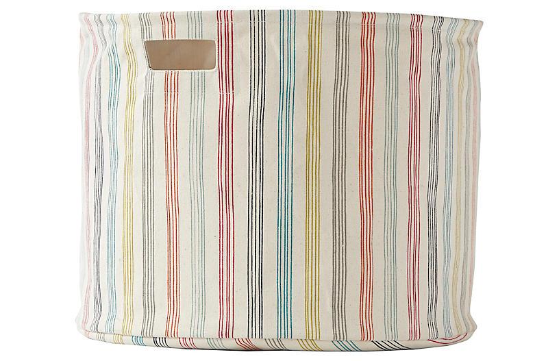 Rainbow Stripe Drum Storage, Beige/Multi
