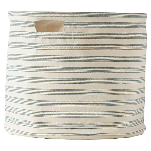 Stripe Drum Storage, Mist/Beige