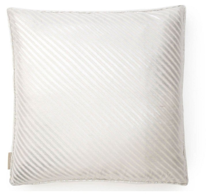 Diagonal 20x20 Silk Pillow, White
