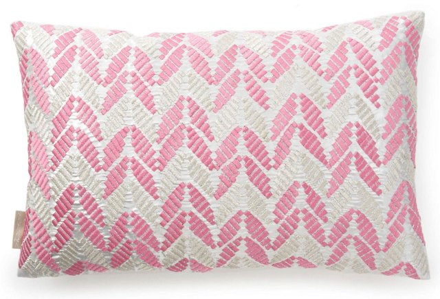 Leaves 13x20 Silk Pillow, Pink/Silver