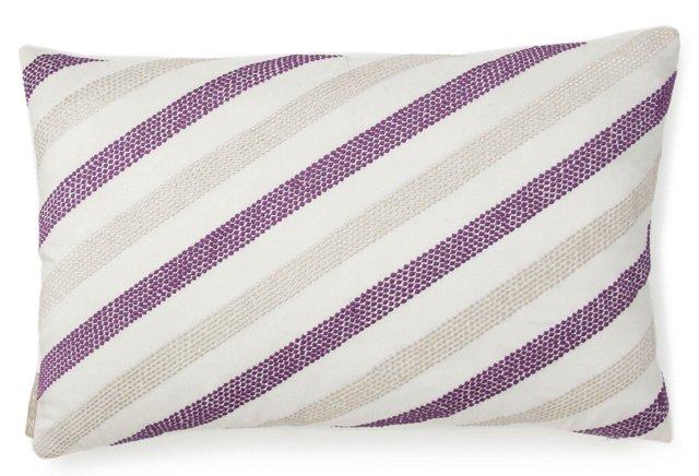 Diagonal Stripe 13x20 Pillow, Purple