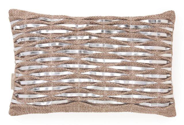 Ribbon 13x20 Pillow, Jute/Silver
