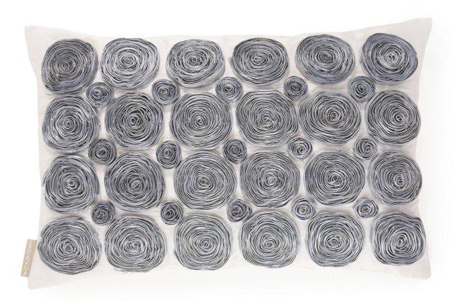 Rose 13x20 Silk Pillow, Gray