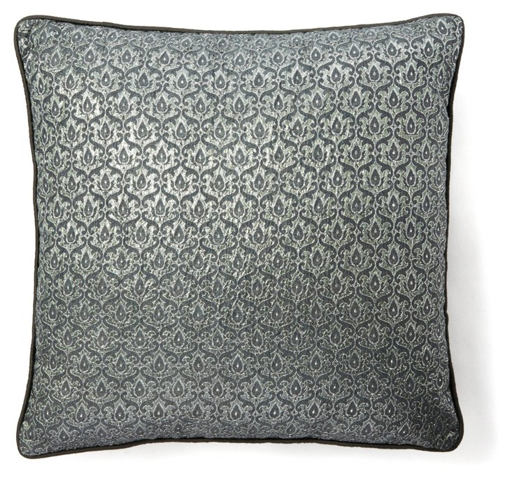 Glamour 18x18 Pillow, Slate/Silver