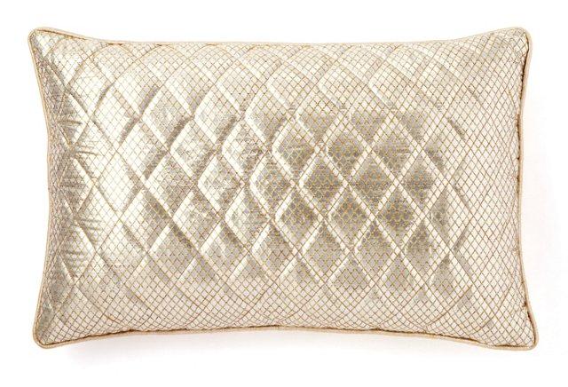 Diamond 13x20 Silk Pillow, Gold/Silver