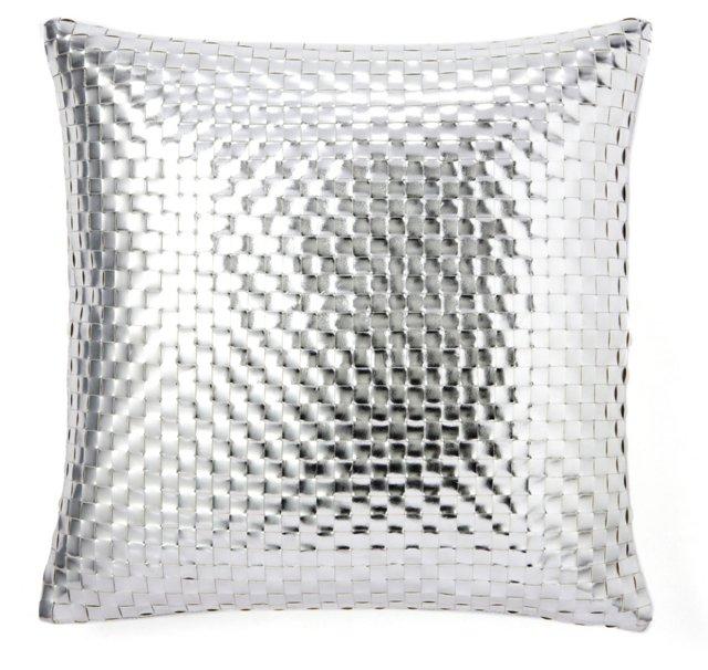 Weave 20x20 Silk Pillow, Silver