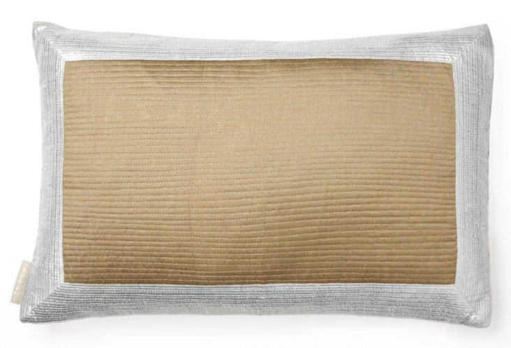 Pinstripe 13x20 Silk Pillow, Gold