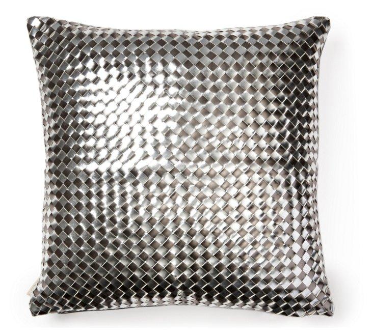 Basket-Weave 18x18 Pillow, Gunmetal