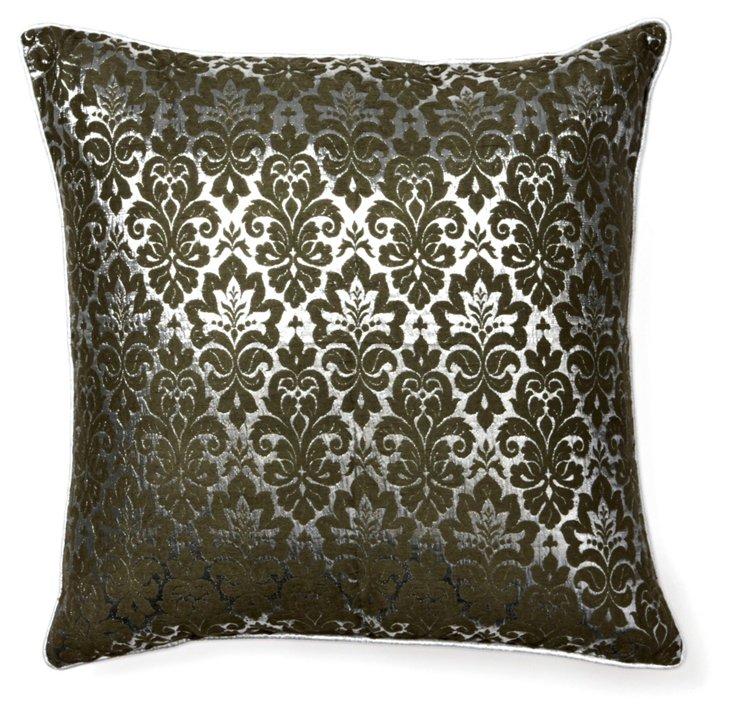 Motif 18x18 Silk Pillow, Dark Green