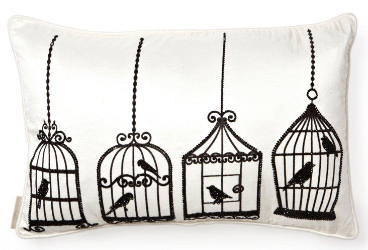 Birdcage 13x20 Silk Pillow, Black/White